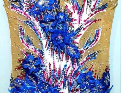 Justaucorps fleurs bleu/rose